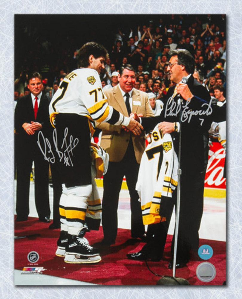 Ray Bourque   Phil Esposito Boston Bruins Dual Signed Jersey Swap 11x14  Photo 3ad97cbd6a4