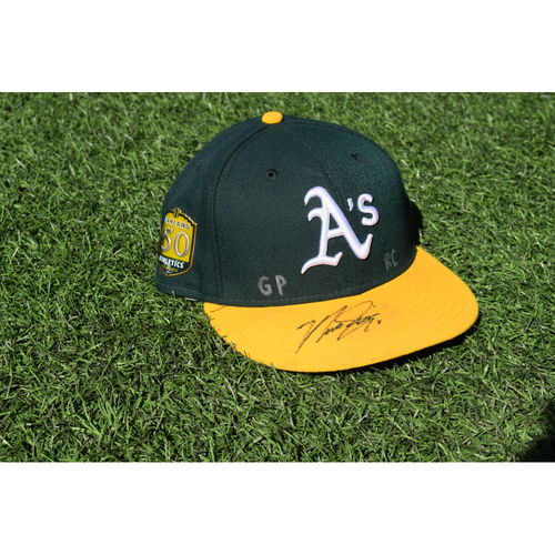 Photo of Oakland Athletics Game Used Autographed Marcus Semien 50th Anniversary Cap