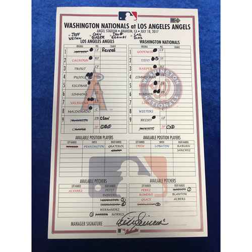 Photo of Game-Used Line-up Card Angels v Nationals July 18th 2017