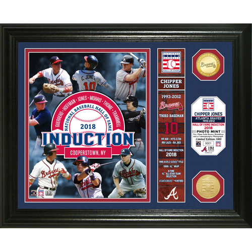 Photo of Serial #1! Chipper Jones Class of 2018 Banner Bronze Coin Photo Mint