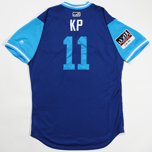 """Photo of Kevin """"KP"""" Pillar Toronto Blue Jays Game-Used Jersey 2018 Players' Weekend Jersey"""