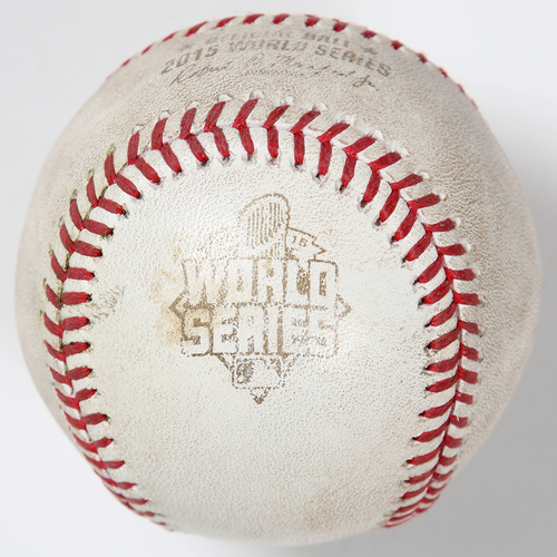 Photo of Game-Used Baseball: 2015 World Series Game 1 - New York Mets at Kansas City Royals - Batter: Juan Lagares, Pitcher: Kelvin Herrera - Top of 8, Single