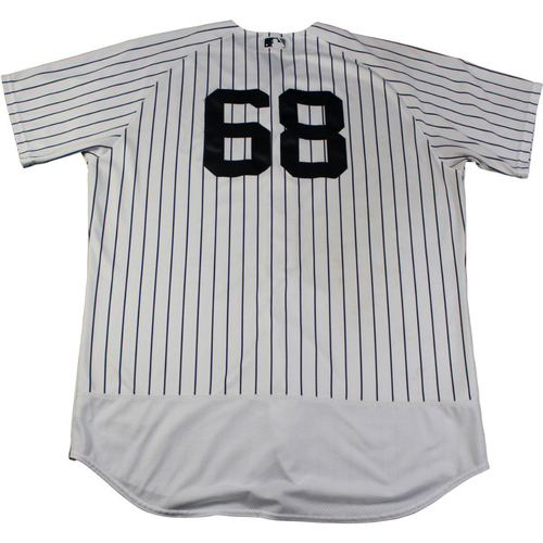 Photo of Dellin Betances New York Yankees Game Used #68 Pinstripe Jersey (9/2/2017)