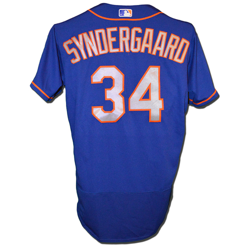 Photo of Noah Syndergaard #34 - Team Issued Blue Alt. Road Jersey - 2018 Season