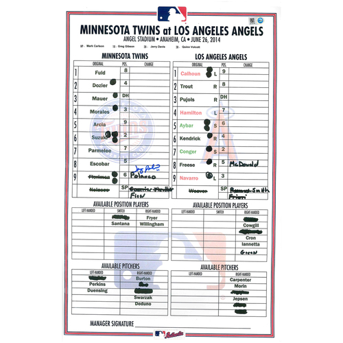 Photo of Minnesota Twins Autographed Replica Debut Lineup Card - Jorge Polanco