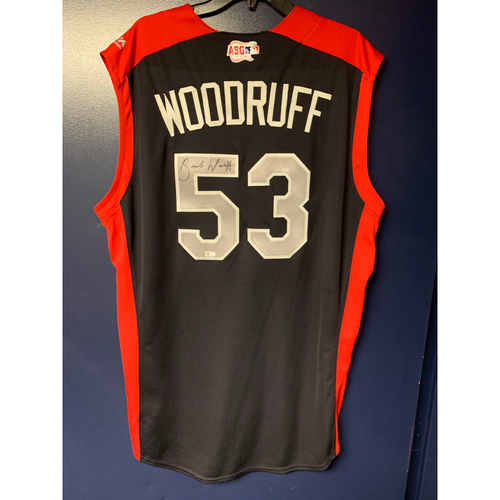 Photo of Brandon Woodruff 2019 Major League Baseball Workout Day Autographed Jersey