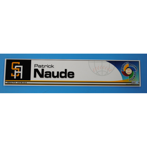 Photo of 2006 Inaugural World Baseball Classic: Patrick Naude Locker Tag - RSA