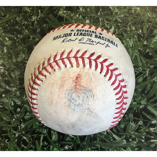 Photo of Game-Used Baseball CIN@MIL 08/09/20 - Sonny Gray - Christian Yelich: RBI Triple