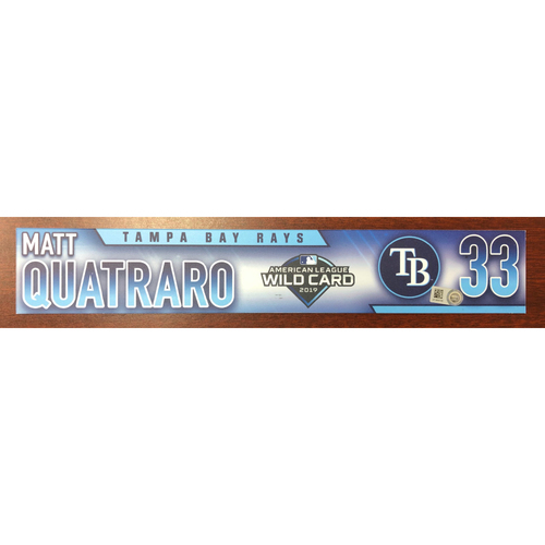 Photo of Game Used Wild Card Locker Tag: Matt Quatraro - October 2, 2019 at OAK