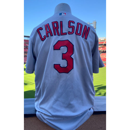 Photo of Cardinals Authentics: Game-Used Dylan Carlson Road Grey Jersey *First Hit Jersey*