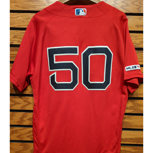 Mookie Betts #50 Game Used Red Home Alternate Jersey