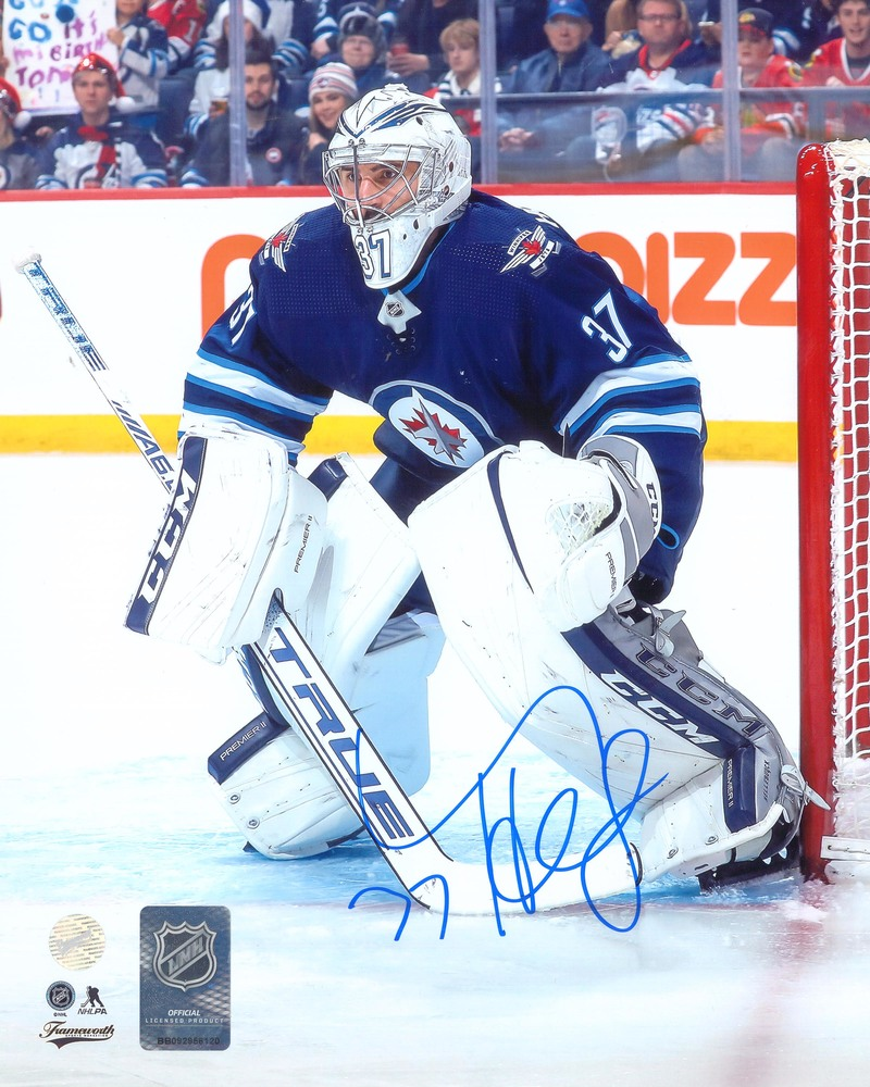 Connor Hellebuyck Signed 8x10 Unframed Jets Action
