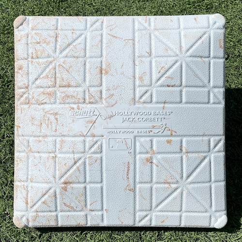 Photo of Game Used Jackie Robinson Day Base - 1st Base, Innings 7-9 - deGrom Single, Nimmo Double and Home Run, Conforto and McNeil Singles - Mets vs. Nationals - 4/23/21