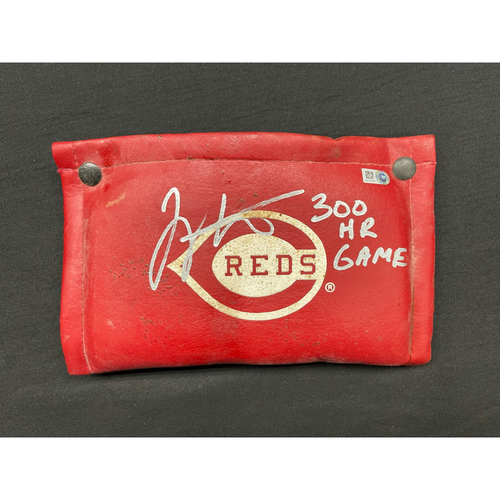 Photo of Joey Votto *Game-Used, Autographed & Inscribed* On-Deck Circle Pine Tar Rag -- Used By Joey Votto During 300th Career Home Run Game -- CHC vs. CIN on 04/30/2021