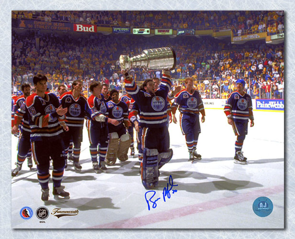 Bill Ranford Edmonton Oilers Autographed 1990 Stanley Cup 8x10 Photo
