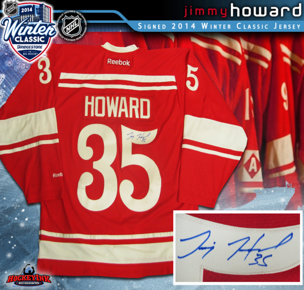 JIMMY HOWARD Signed 2014 NHL WINTER CLASSIC Detroit Red Wings Red Reebok  Jersey cb48a0b43