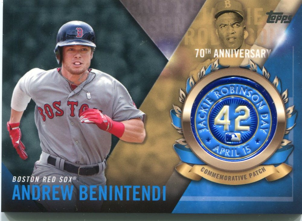 2017 Topps Jackie Robinson Logo Patches #JRPCABE Andrew Benintendi