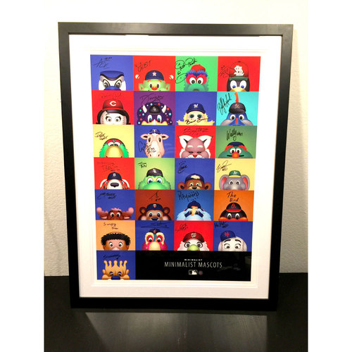 Minimalist Mascots Framed Print Signed by 25 MLB Mascots and the artist