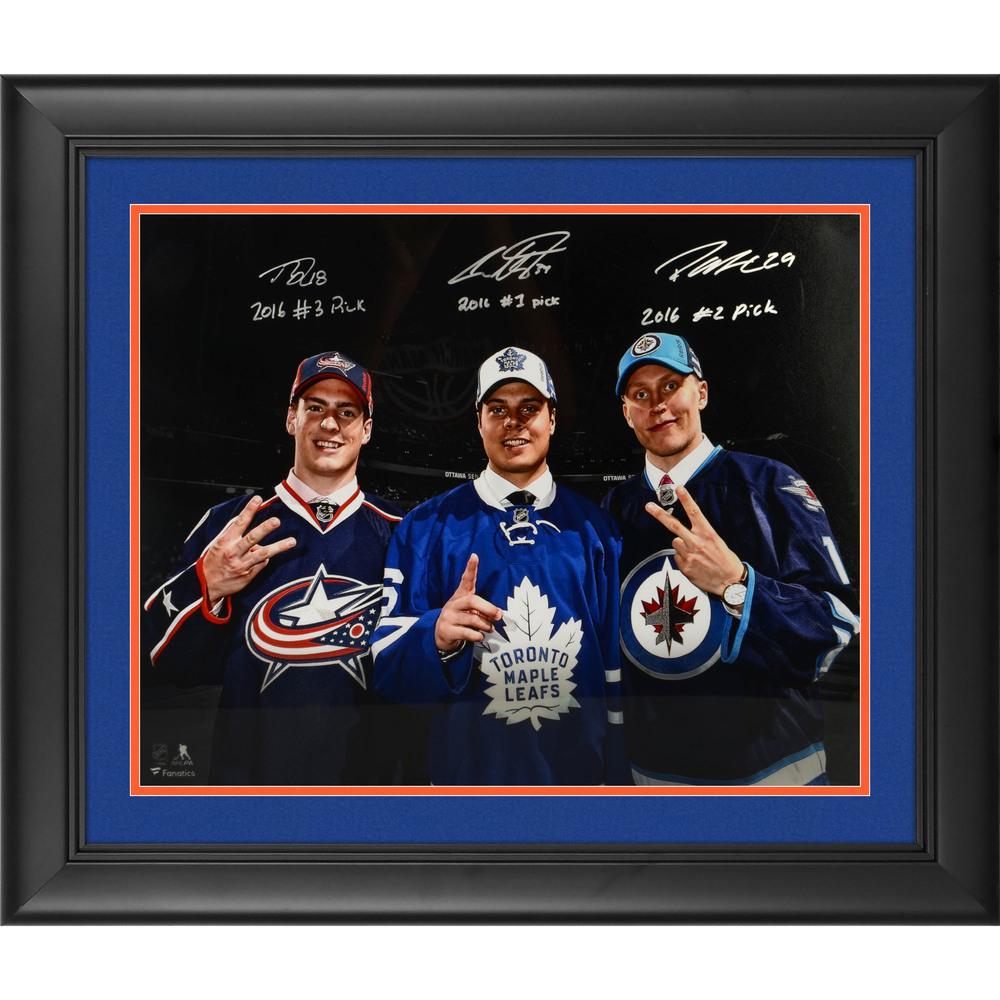 Auston Matthews, Patrik Laine & Pierre-Luc Dubois Framed Autographed 16