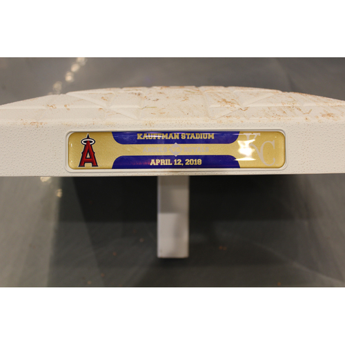 Photo of Game-Used Base: Shohei Ohtani 1st MLB Career Triple Base (3rd Base - Innings 6 thru 9 - LAA at KC - 4/12/18)