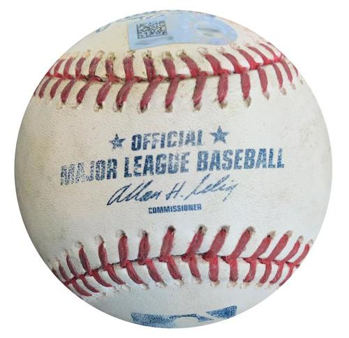 Photo of Game-Used Baseball from Pirates vs. Reds on 4/21/14 - Jay Bruce Double