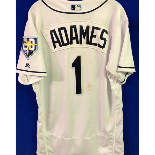 Photo of 20th Anniversary Game Used White Jersey: Willy Adames (5H, HR, 2RBI, 2R) - August 20-22, 2018 v KC