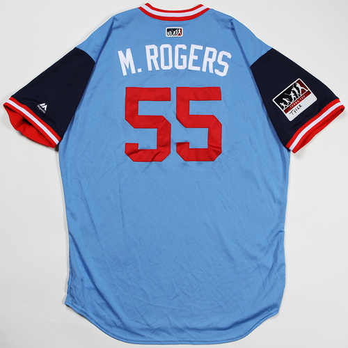 """Photo of Taylor """"M. Rogers"""" Rogers Minnesota Twins Game-Used Jersey 2018 Players' Weekend Jersey"""