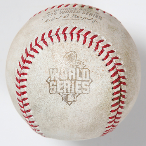 Photo of Game-Used Baseball: 2015 World Series Game 4 - Kansas City Royals at New York Mets - Batter: Mike Moustakas, Pitcher: Jonathon Niese - Top of 6, Ground Out