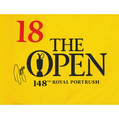Photo of Sergio Garcia, The 148th Open Royal Portrush Autographed Souvenir Pin Flag