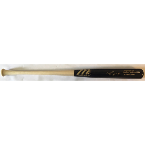 "Photo of Yadier Molina ""06/11 WSC"" Autographed Game Model Bat"