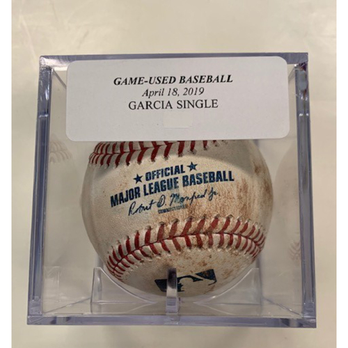 Game-Used Baseball: Leury Garcia Single