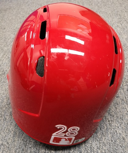 Photo of Authenticated Game Used Helmet - #28 Steve Pearce (April 16, 2017: 1-for-4). Size 7 3/8.