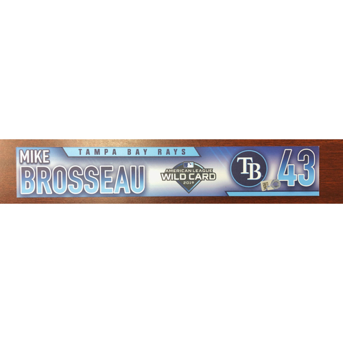 Photo of Game Used Wild Card Locker Tag: Michael Brosseau - First Career Postseason Game - Starting 2B & Played 3B, 1B -  October 2, 2019 at OAK
