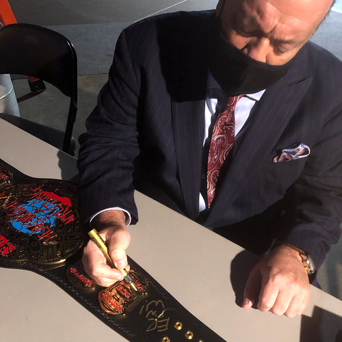 Photo of Paul Heyman SIGNED ECW World Heavyweight Championship Replica Title