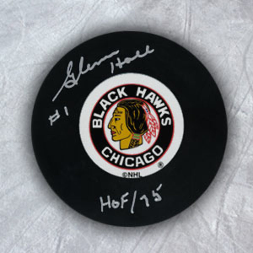 Glenn Hall Chicago Blackhawks Autographed Hockey Puck with HOF Inscription
