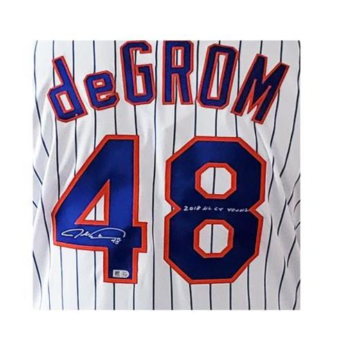 "Photo of Jacob deGrom Autographed ""2018 NL CY Young"" Authentic Mets Jersey"