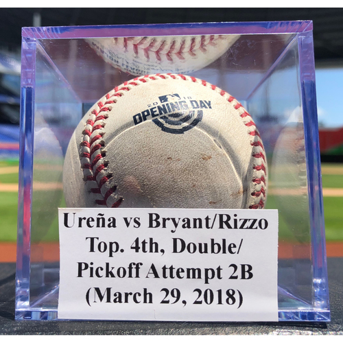 Photo of Game-Used Baseball: Jose Ureña vs Kris Bryant/ Anthony Rizzo, Top 4th, Double/Pickoff Attempt (Opening Day)