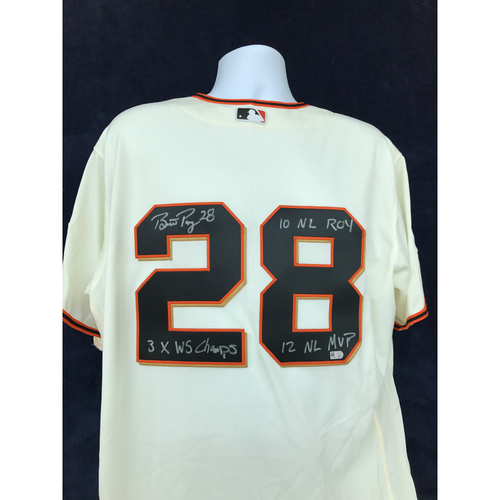 "Photo of Mauer & Friends Kids Classic Charity Auction: Buster Posey Autographed Jersey Inscribed ""3X WS Champs, '10 NL ROY, '12 NL MVP"""