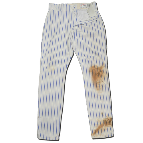 Photo of Wilmer Flores #4 - Game Used White Pinstripe Pants - 2-3, 2 Runs Scored - Mets vs. Giants - 8/21/18