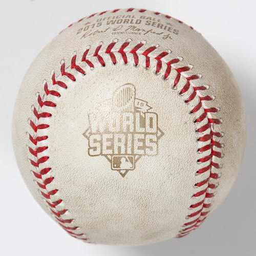 Photo of Game-Used Baseball: 2015 World Series Game 2 - New York Mets at Kansas City Royals - Batter: Lorenzo Cain, Pitcher: Jacob deGrom - Bottom of 4, Line Out