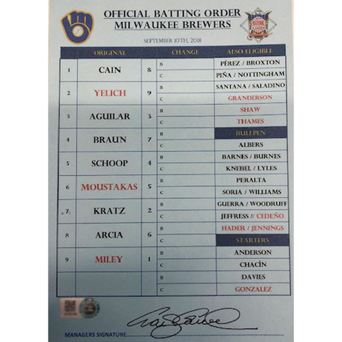 Photo of Official Visito's Batting Order Card -- Brewers vs. Cubs -- 9/10/18 -- Signed by Craig Counsell