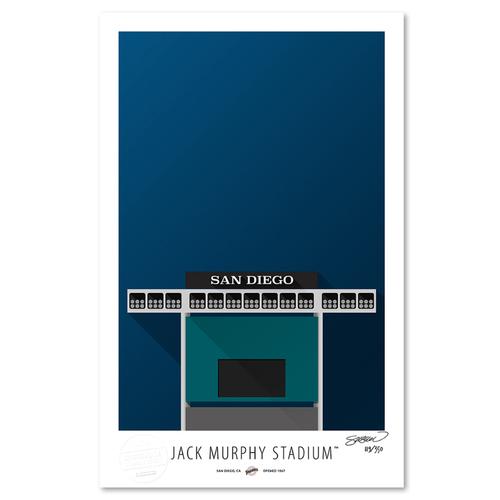 Photo of Jack Murphy Stadium - Collector's Edition Minimalist Art Print by S. Preston #119/350  - San Diego Padres