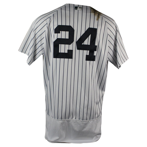 Photo of Gary Sanchez New York Yankees 2018 Home Game Used #24 Pinstripe Jersey (5/30/2018)  (1-3 2 RBIs, 1 Walk, Single)