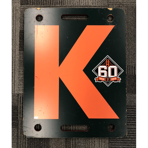 Photo of 2018 Regular Season Orange K Board Used on 9/25/18 vs. San Diego Padres - T-5: Steven Okert Strikes Out Javy Guerra