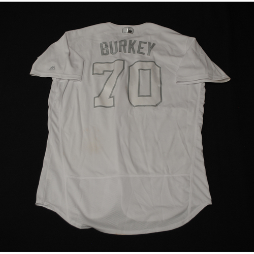 "Photo of Brock ""BURKEY"" Burke Texas Rangers Game-Used 2019 Players' Weekend Jersey"