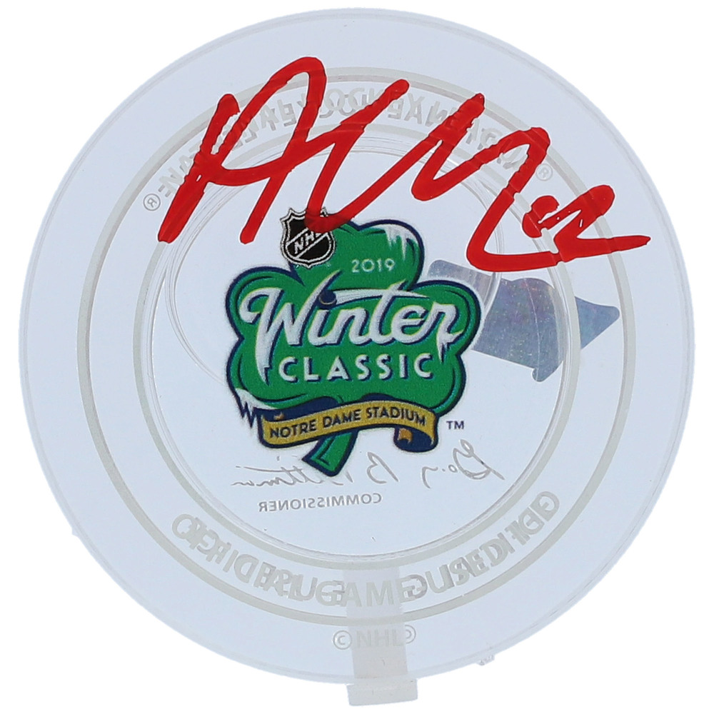 Alex DeBrincat Chicago Blackhawks Autographed 2019 Winter Classic Crystal Puck - Filled with Ice from the 2019 Winter Classic