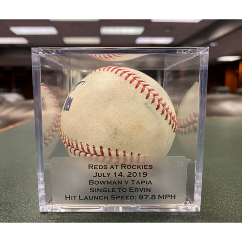 Photo of Colorado Rockies Game-Used Baseball - Pitcher: Matt Bowman, Batter: Raimel Tapia (Single to Phillip Ervin) - July 14, 2019 vs Cincinnati Reds