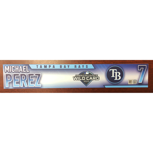 Photo of Game Used Wild Card Locker Tag: Michael Perez - October 2, 2019 at OAK