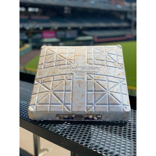 Photo of 2020 Colorado Rockies Game-Used Base - 1st base, innings 1-3 for 6 games - 37 Rockies Hits/ 45 Visiting Team Hits