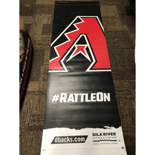 Photo of 2020 Team-Issued #RattleOn Double-Sided Street Banner - approximately 93 inches tall by 31 inches wide